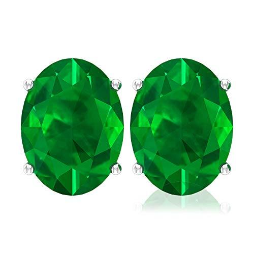 Rosec Jewels 14 quilates oro blanco ovalada Green Esmeralda creada en laboratorio.