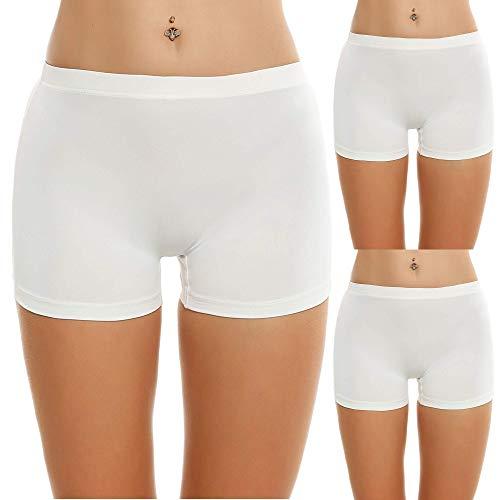 Ekouaer Women s Comfortable Cotton Bike Yoga Boxer Brief Boyshort(XX-Large, White-3 Pack)