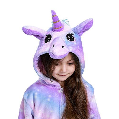 Uniquecos Kids Unicorn Onesie Animal One Piece Pajamas Halloween Costumes, Bright Purper, 10-12 Years
