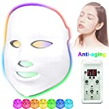 Led Light Therapy Photon Mask, Acne Treatment 7 Color Home Use Skin Rejuvenation Whitening Anti-Aging Acne Spot Scar Removal Smooth Wrinkles Fine Lines Skin Tightening Facial Beauty Daily Skin Care
