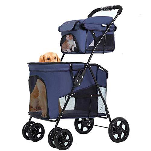 ZhaoMM 4 Wielen Huisdier Kinderwagen Hond Fiets Mand Huisdier Kinderwagen Carts en Tassen Zijn Afneembaar Opvouwbare Outdoor Hand Duwen Auto Fietstas Afzonderlijk Ontwerp Hond Winkelwagen