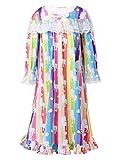 TiaoBug Mädchen Kleider Prinzessin Mittelalterlich Renaissance Nachthemd Puffärmel Kleid Baumwolle Schlafanzug Nachtwäsche gr. 98-152 Regenbogen 134-140