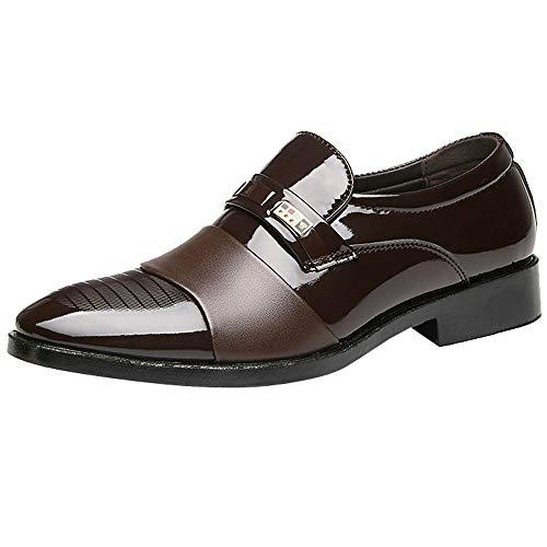Hochzeitsschuhe für Herren/Skxinn Herrenschuhe Anzugschuhe Business Lackleder Hochzeit Oxford Smoking Schuhe Klassischer Business-Halbschuh Ausverkauf(Braun,44 EU)