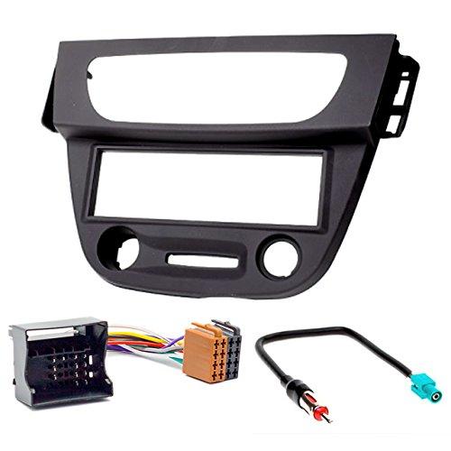 Carav - Juego de embellecedor de radio para instalar en salpicadero de coche 1-DIN 11-152-27-7 + ISO y cable adaptador de antena