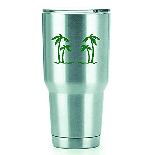 Palm Trees Vinyl Decals Stickers (2 Pack!!!) | Yeti Tumbler Cup Ozark Trail RTIC Orca | Decals Only! Cup not Included! | 2-4 X 2.5 inch Green Decals | KCD1554GR