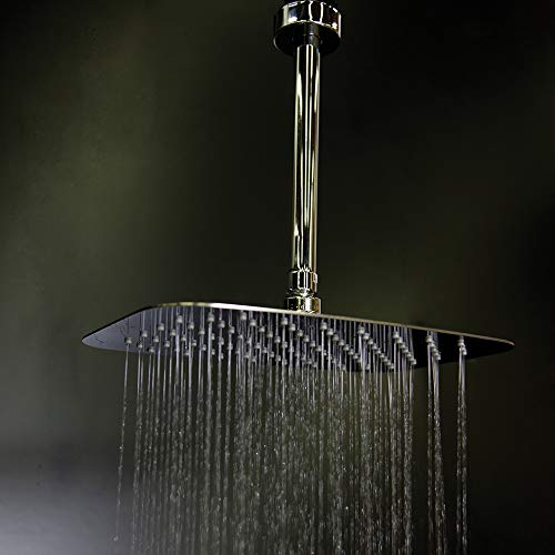 Lowest Prices! Ceilling mount tilting square rain shower head with ultra thin edge and flow regulato...