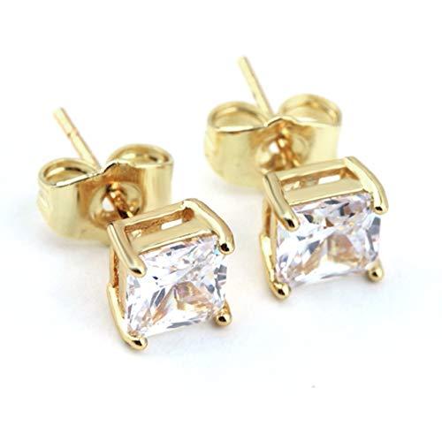 Frauen Superb Gold Farbe Clear Square Ohrstecker Glänzende Strass Ohrstecker Romantische Ohrringe für junge und reife Frauen BCVBFGCXVB ()