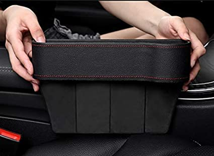 GCARTOUR Car Seat Pockets Leather Car Console Side Organizer Seat Gap Filler Catch Caddy with Non-Slip