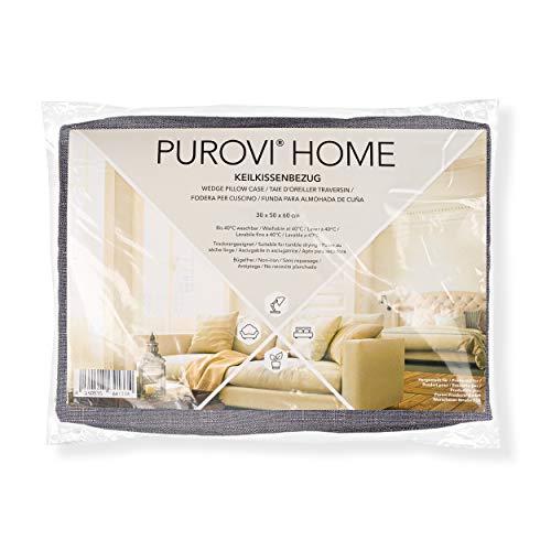 Purovi Keilkissen Bezug Grau, Couch Kissen Bezug 60x50x30 cm...