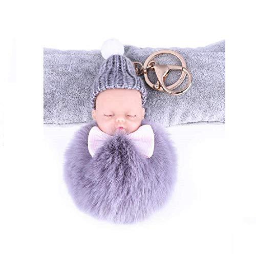 Llavero con pompón original de cabeza de bebé, color gris