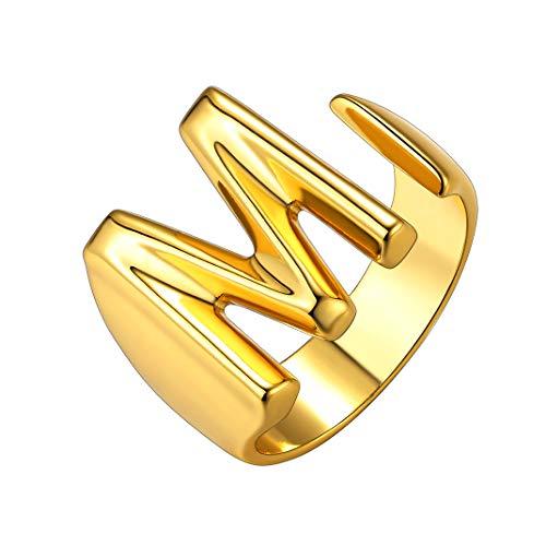 GoldChic Jewelry Golden Fashion Open Ring with Inicial Letter M - Anillo Abierto con 26 Letras alfabeticas - Laton Cobre Chapado en Oro - Gratis Caja de Regalo