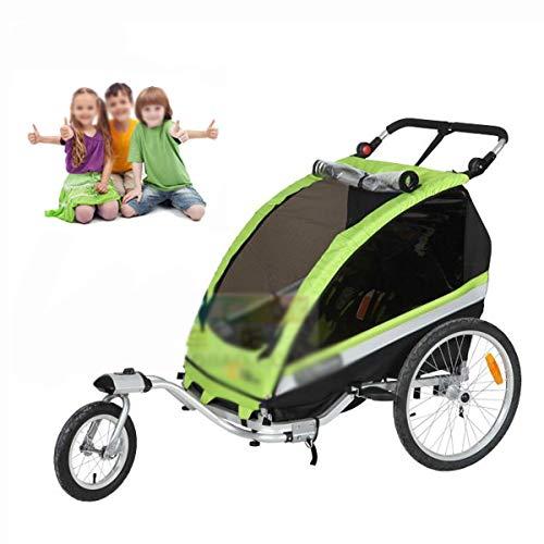 OLMME Deluxe 2-in-1 Doppel 2 Sitz Fahrrad Fahrradanhänger Jogger Kinderwagen für Kinder Faltbar Mit 360°Drehbarer Vorderradlast 40kg Grün