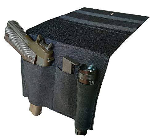Tactical Bed Pistol Holster, Bedside Handgun Holster, Mattress Gun Holster Universal with Flashlight Loop (Black)