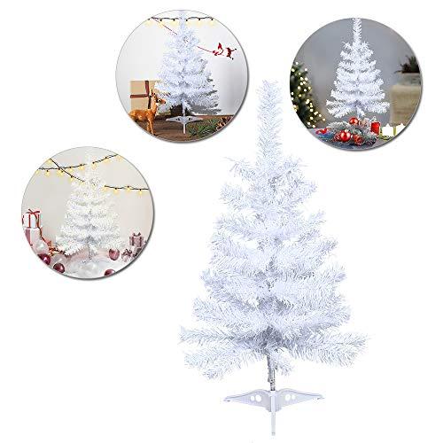LARS360 Árbol de Navidad Árbol Artificial Arboles Decoración Navideña, Material Blanco PVC, Blanco con Soporte en Plástico, Altura 2ft - 60cm