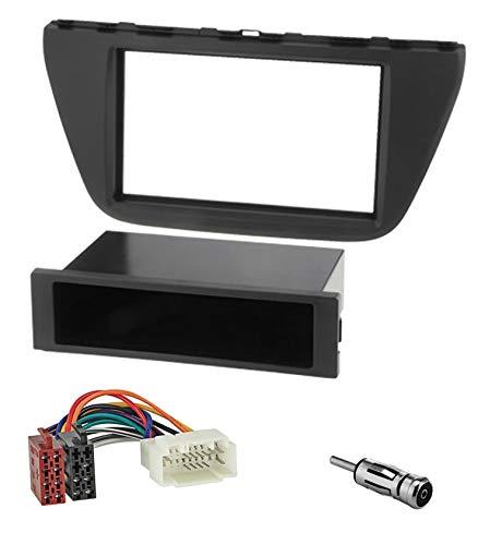 Sound Way Kit Montaggio Autoradio, Mascherina 1 DIN / 2 DIN con Vano Portaoggetti, Cavo Adattatore ISO, Adattatore Antenna Compatibile con Suzuki SX4 S Cross