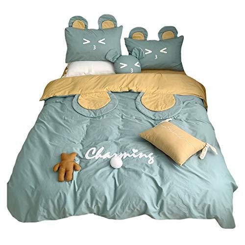 DYXYH Kleines frisches Bett Rock vierteilige Prinzessin Art Mädchen Herz gestickte Quiltabdeckung Blatt Bettdecke Kissenbezug Bettwäsche (Size : 1.8M)