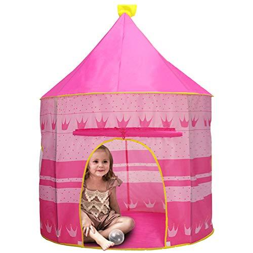 Tente Portable Enfants, ZoneYan Tente Jeu Pliable Enfant, Jouet Tente Chambre, Kids Pop-Up Tent, Maison Tente Bébé, Tente Château Jeu, Play Tent House, Tente Garçons Filles (Rosa)