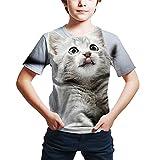 Camiseta De Verano para Niños con Estampado 3D De Animales De Gato Y Perro Camisetas De Moda De Manga Corta para Niños Y Niñas Picture color2 7T