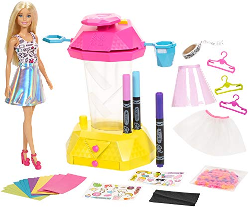 Barbie Crayola Confetti Skirt Studio, Barbie Crafts Playset with Doll