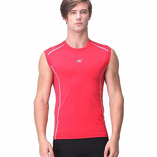 Henri Maurice T-shirt de compression sans manches pour homme - Rouge - X-Large