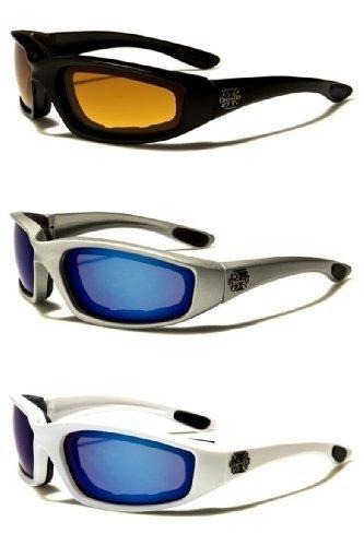 Choppers 3 Pares de Gafas Acolchado Marco de Lense Bloque 100% UVB para la Actividad al Aire Libre Deportes 2 Negro una Talla le Queda a la mayoría HD - Silver Blue - Azul Blanco