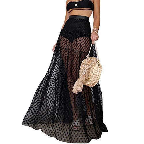 Falda de Bikini Bordado Puntos Redondos para Mujer Transparente Ropa de Baño Playa Suelta de Moda Falda Larga para Bikini Verano etc (Negro, S)