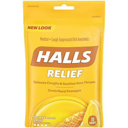 HALLS Relief Honey Lemon Flavor Cough Drops, 1 Bag (30 Total Drops)