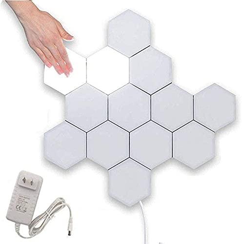 Lámpara hexagonal creativa Geometría LED Iluminación sensible al tacto Las lámparas LED se aplican a la pared para el interior del dormitorio Baño Aplique (blanco frío 3 piezas)