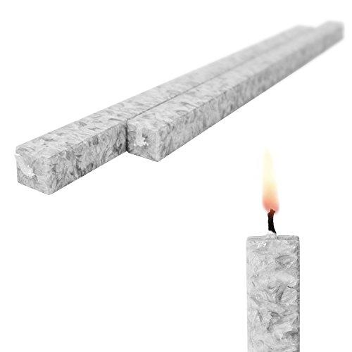 Wachskerze Silbergrau 2-er Set Bio-Stearin - Stabkerze Kommunionkerzen 40 cm