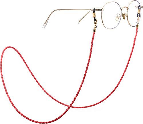 Moda Twist Link Cordón de Cuero Rojo Cadena de anteojos Anillo de Metal de conexión Dorado Soporte para Gafas de Sol Correa de retención para Mujeres