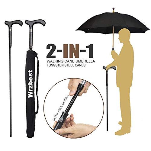 Wrzbest 2-in-1-Spazierstöcke-Regenschirm - Windschutzrippen-Spazierstock-Krückenregenschirm Hochleistungs-Wolframstahl Vaters zum Klettern, Wandern, Abhängen beim Regen