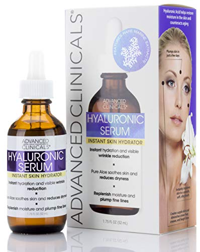 Advanced Clinicals Hyaluronic Acid Face Serum. Anti-aging Face Serum- Instant Skin Hydrator, Plump Fine Lines, Wrinkle Reduction. 1.7 Fl Oz