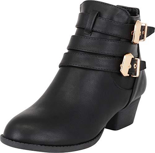 TOP Moda Women's Buckle Straps Stacked Low Heel Ankle Booties Black 8