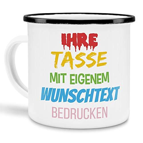 Tasse selbst gestalten/mit eigenem Text beschriften/Wunsch-Name/Spruch-Tasse/Emaille - Rand Schwarz/Mittig gegenüber vom Henkel Bedruckt