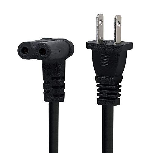 TV Power Cord 12FT US 2 Prong to IEC 320 C7(Figure 8) Right Angle-Down Angle AC Power Cord,Upward Downward Angled Figure 8 (C7) Replacement Cord for LED LCD TV Monitor Apple TV, Sony PS4, PS3 Slim