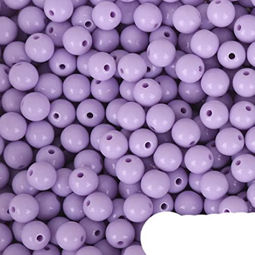 8mm 100 Uds cuentas de acrílico multicolor cuentas espaciadoras sueltas redondas aptas para pulseras y collar de mujeres y hombres DIY regalos de joyería-púrpura claro