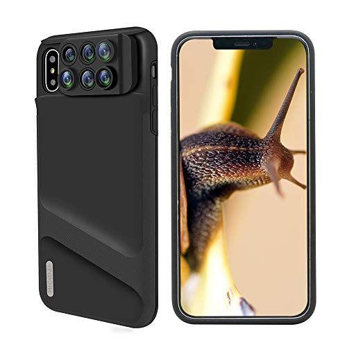 iPhone Xs Max Lens, 6 in 1 Dual Phone Camera Lens Kit [ 180 Degree Fisheye, 0.65X Super Wide Angle, 10X/20X Macro, 2X Telescope Lens ] with Phone Protective Case Cover for Apple iPhone Xs Max
