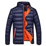 BIKETAFUWY Piumino leggero da uomo trapuntato, giacca leggera per mezza stagione, colletto alto, antivento, caldo, Blu scuro, L