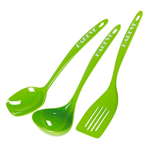 Parve Green Kitchen Utensil Set - 3 Piece Set Spoon Ladle and Spatula – Heavy Duty Melamine - Color Coded Kitchen Tools by The Kosher Cook