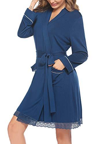 Hotouch Bademantel Frauen Kimono Leicht Mogernmantel Kurz Saunamantel mit Taschen V Ausschnitt Loungewear Sleepwear mit Taschen Navyblau M