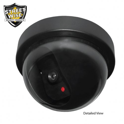 Streetwise Battery Operated Fake Security Dome Camera with 24/7 Flashing LED