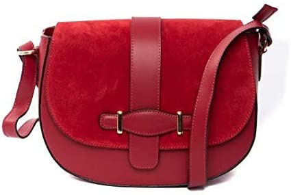 Italian Red Suede Classical Hobo Shoulder Bag By Vittoria Pacini