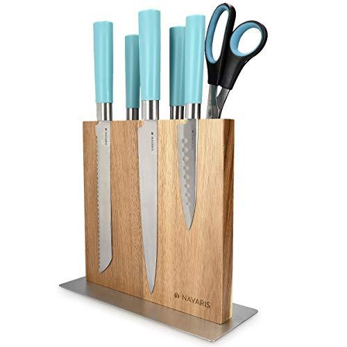 Navaris Messerhalter doppelseitig magnetisch aus Akazie - Magnet Messerblock Messerbrett Magnethalter beidseitig - Messer Halterung Holz unbestückt