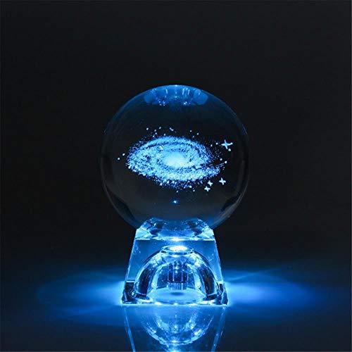 3D Gegraveerde Galaxy-systeemherten Kristallen lamp Nachtlampje Lichtgevend Ambachtelijk Glas Rond Bol Home Office Decorlamp, 6cm, Galaxy