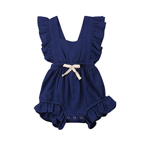 WOCACHI Toddler Baby Girls Clothes, Newborn Infant Baby Girls Color Solid Ruffles Backcross Romper Bodysuit Outfits 2pcs 3pcs Footies Outfit Onesies 0-24 Months 2-8 Years Playsuits Tutu Princess