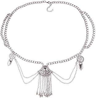 FemNmas Silver Multi Chain Coin Belly Waist Chain Belt Gypsy Bohemian Dancing Tassel Body Jewelry for Girls & Women