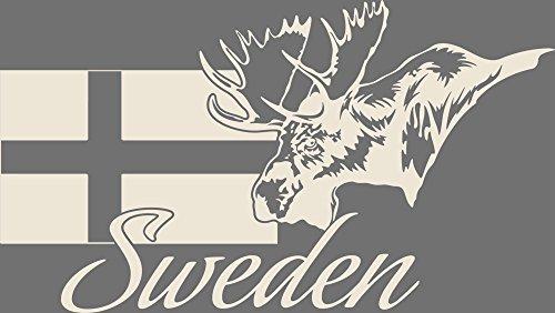 GrazDesign Muurtattoo Sweden - Muursticker Deco Sticker Zweden Landkaart 53x30cm 816, antiek wit.