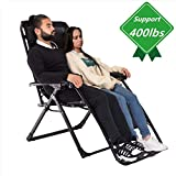 Oversized Zero Gravity Chair, Support 400lbs XL Wide Lounge Chair (4 inch Wider Than Standard Size) Comfortable Outdoor Camping Beach Chair with Cup Holder and Headrest