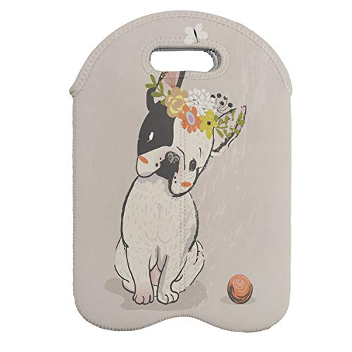Lunarable Dog Wine Bottle Carrier, Hand Drawn French Bulldog Wreath on Its Head Watercolor Domestic Pet Illustration, Portable Neoprene Bag for Champagne and Water Bottles, 2 Bottles, Multicolor