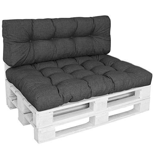 DILUMA | Set de 2 Piezas Antracita | Asiento 120x80 cm + Respaldo 120x40cm | Cojín Confort para sofás palés Repelente a Las Manchas